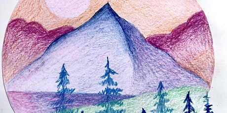 Wellbeing Art Sessions - Mountain Valley in coloured pencils tickets