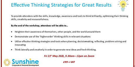 Effective Thinking Strategies for Great Results (online training workshop) tickets