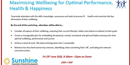 Maximising Wellbeing for Optimal Performance (online training workshop). tickets