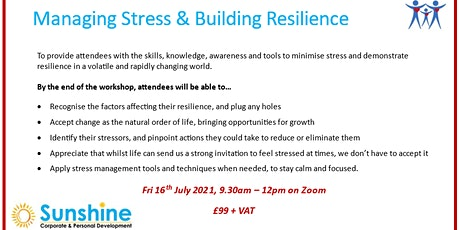 Managing Stress & Building Resilience (online training workshop) tickets