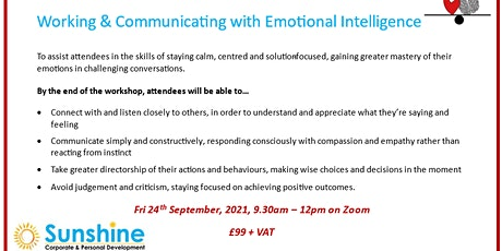 Working & Communicating with Emotional Intelligence tickets