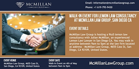 Walk-in Event for Lemon Law Consultancy at McMillan Law Group, San Diego CA tickets