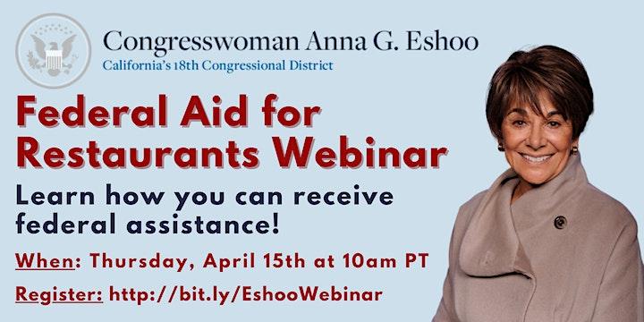 Federal Aid for Restaurants Webinar with Congresswoman Anna Eshoo image