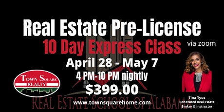 10 Day Real Estate Pre License Express Class tickets