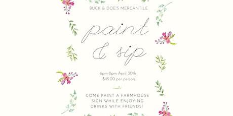 Paint & Sip @ Buck & Doe's Mercantile tickets