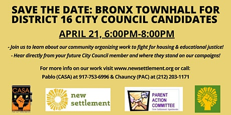 Bronx Townhall for District 16 City Council Candidates tickets