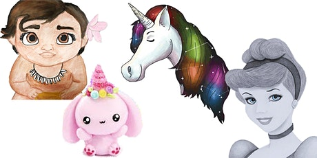 4 WEEKS Unicorns & Princesses Virtual Art Club  @Fridays 3PM (Ages 5+) tickets