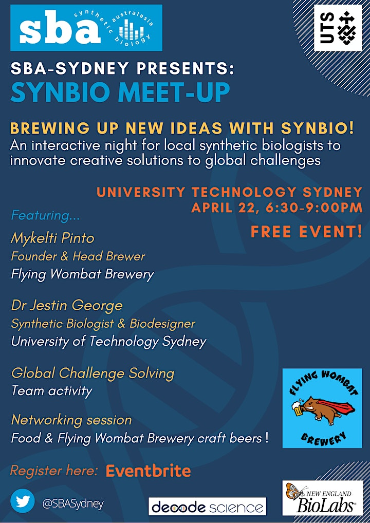 SBA-Sydney's SynBio-meet up: BREWING UP NEW IDEAS WITH SYNBIO! image