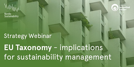 EU Taxonomy  –  Implications for Sustainability Management tickets