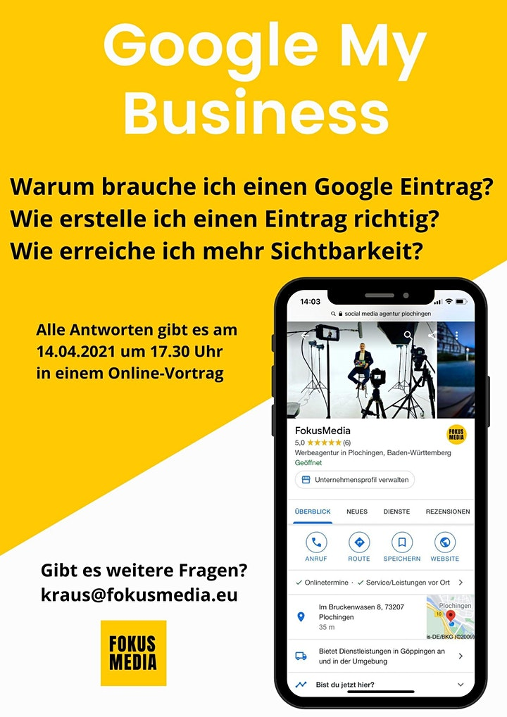 """Schritt für Schritt in die Digitalisierung """"Google My Business"""": Bild"""
