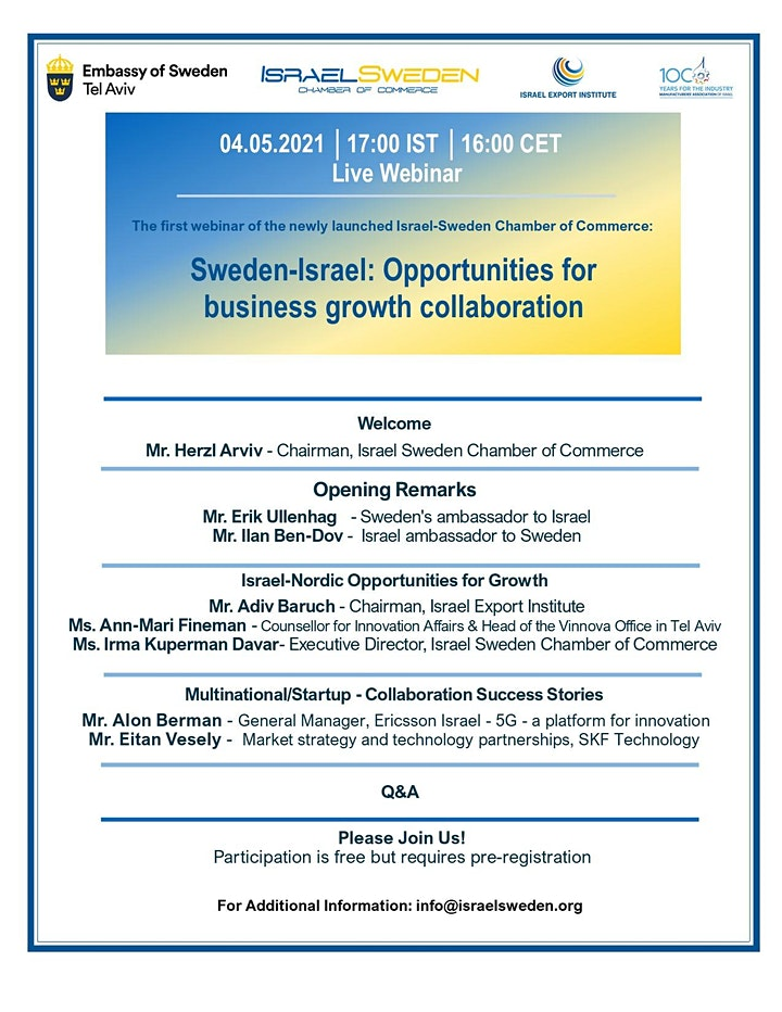 Sweden-Israel: Opportunities for business growth collaboration image