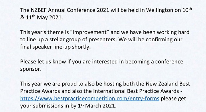 NZBEF 2021 Conference & Best Practice Competition image