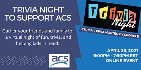 Virtual Trivia Night to Support ACS tickets