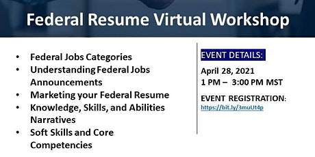 Federal Resume Virtual Workshop tickets