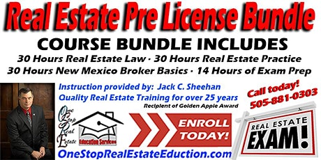 """New Mexico Real Estate Pre-License Bundle Starting April 29 """"Live Online"""" tickets"""