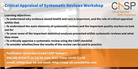 Virtual CASP Workshop - Critical Appraisal of Systematic Reviews tickets