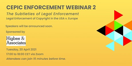 CEPIC Enforcement Webinar 2 tickets
