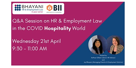 Q&A Session on HR & Employment Law in the Covid  Hospitality World tickets