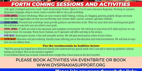 FORTHCOMING ACTIVTIES:  ADULTS, PARENTS AND CHILDREN WITH DYSPRAXIA tickets