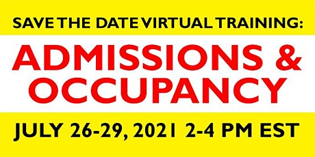 Virtual Training Admissions and Occupancy July 26-29, 2021 tickets