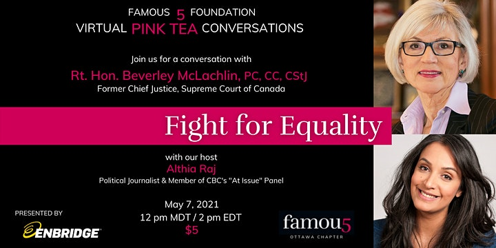 Famous 5 Foundation 2021 Virtual Pink Teas with Inspiring Canadian Women image