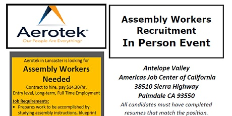 Aerotek Assembly Workers Recruitment tickets