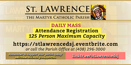 WEDNESDAY, April 21, 2021 @ 8:30 AM DAILY Mass Registration tickets