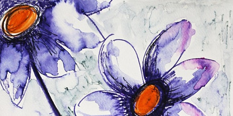 Purple Flowers, Watercolor Art Class for Teens and Adults tickets