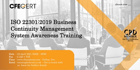 ISO 22301:2019 Business Continuity Management System Awareness Training tickets