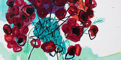 Online Adults Painting Class-Abstract Red Poppies tickets