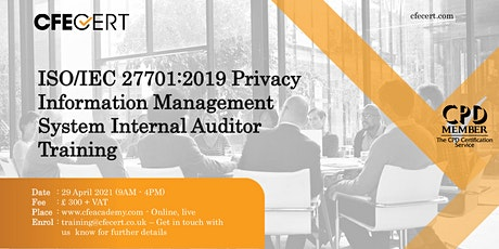 ISO/IEC 27701:2019 PIMS Internal Auditor Training tickets
