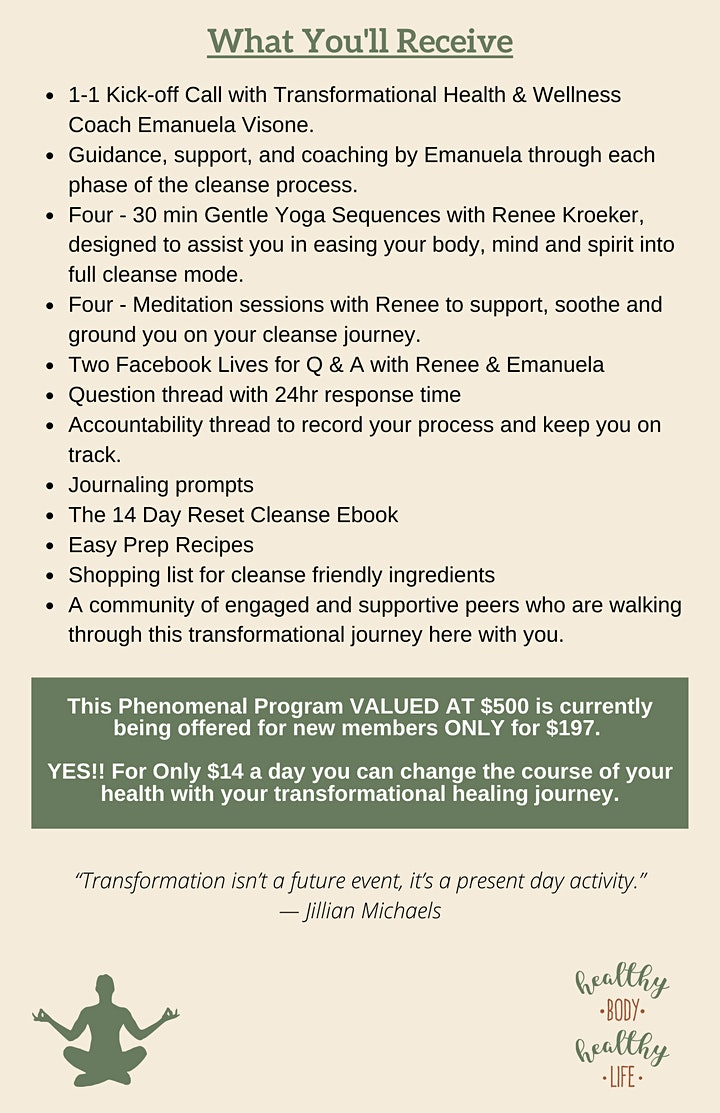 Spring Reset, Restore & Revive 14 Day Cleanse, Yoga and Meditation Program image