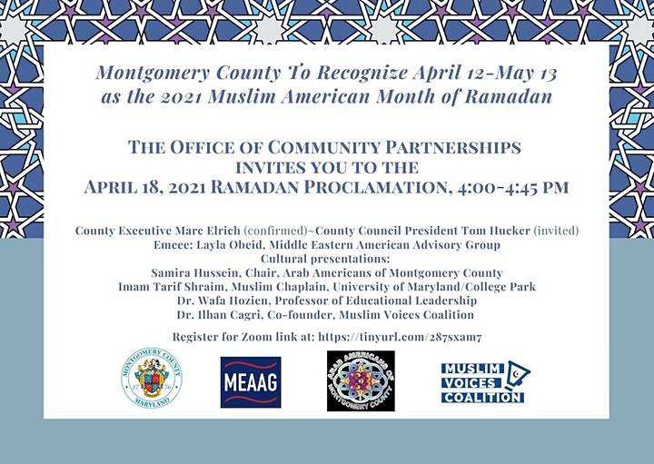 Montgomery County  2021 Month of Ramadan Proclamation Event image