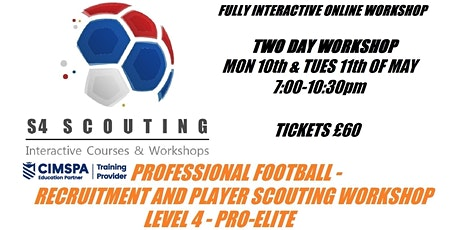 PROFESSIONAL FOOTBALL - PLAYER RECRUITMENT AND SCOUTING WORKSHOP - LEVEL 4 bilhetes