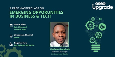 FREE MASTERCLASS: Emerging Opportunities in Business and Tech bilhetes