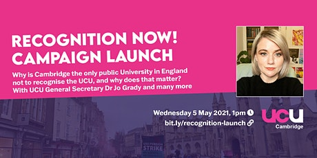 Recognition Now at University of Cambridge: Campaign Launch tickets