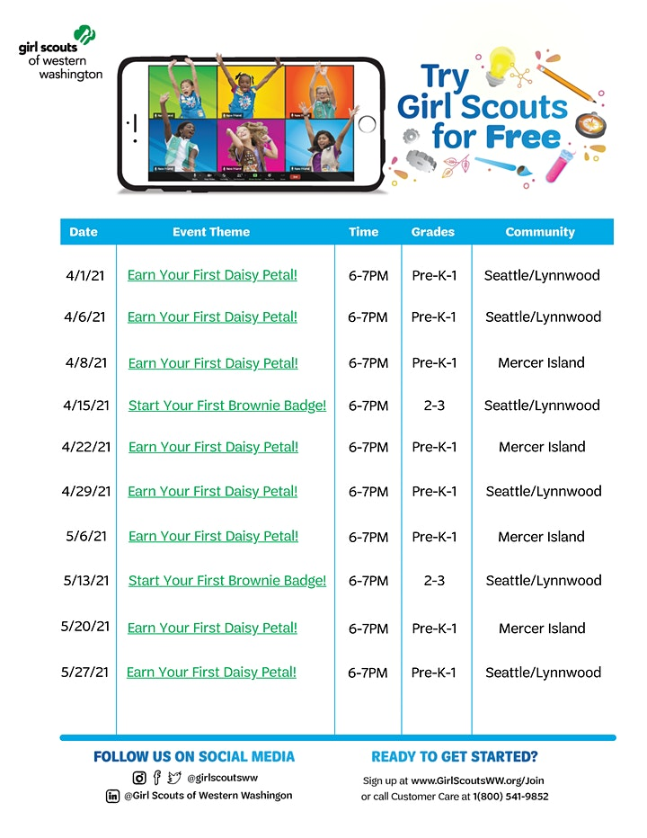 Seattle/Lynnwood/Mercer - Try Girl Scouts for FREE in Western Washington! image