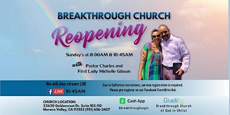 Breakthrough Church Pastor Charles Gibson ~ Sunday Worship 8:00  AM Service tickets