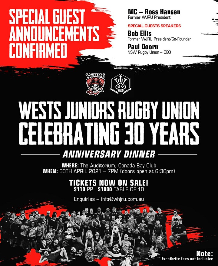 Wests Junior Rugby Union 30 Years Anniversary Dinn image