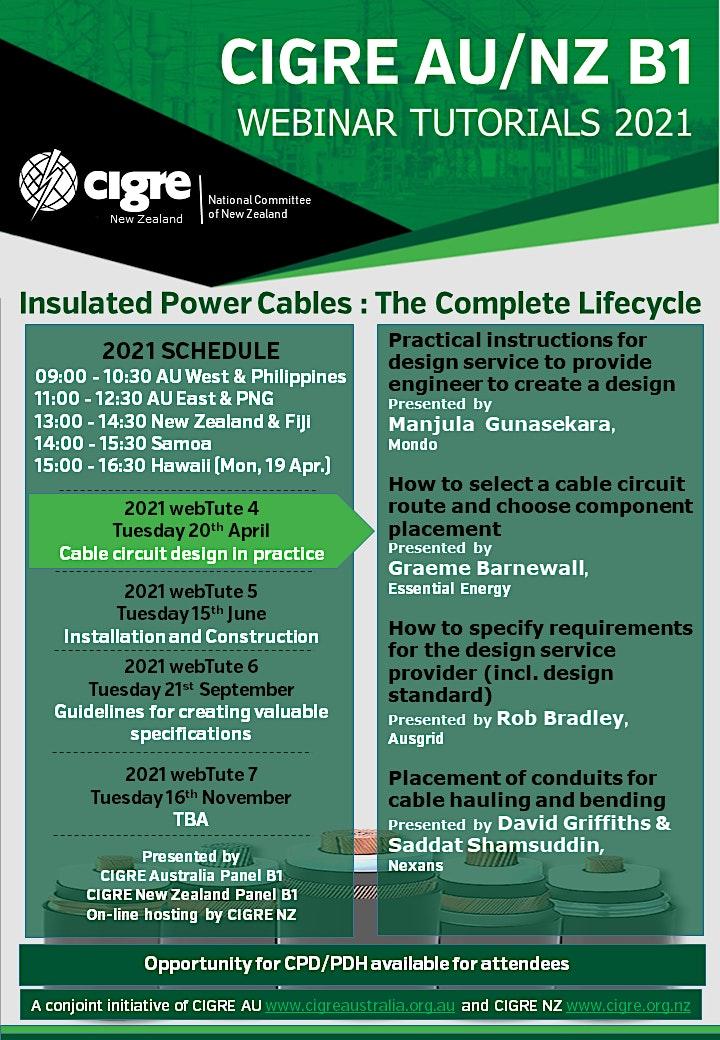 2021 CIGRE AU/NZ B1 WebTute 4 - Cable Circuit Design in Practice image