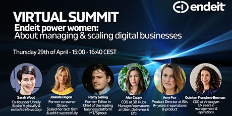 Endeit power women: About managing and scaling digital businesses tickets