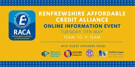 Renfrewshire Affordable Credit Alliance (RACA) info & networking event tickets