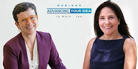 """Webinar  """"Advancing your idea""""  sobre inovação na saúde bilhetes"""