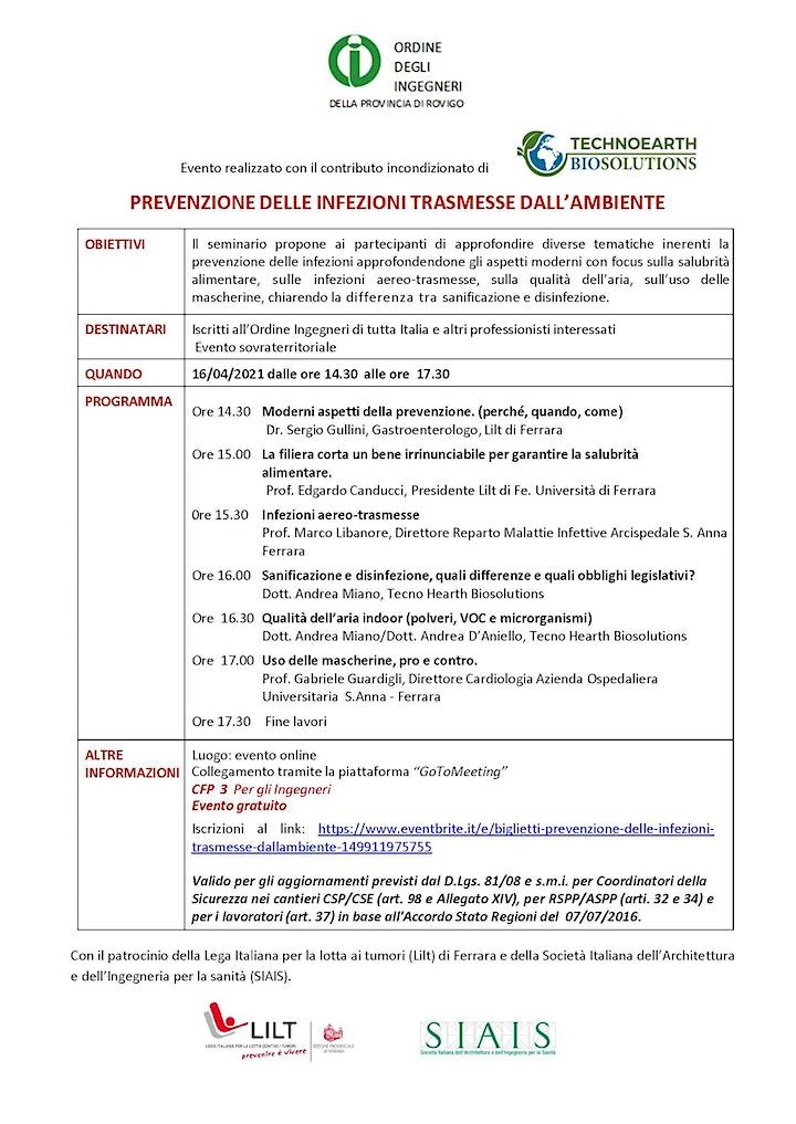 Immagine PREVENZIONE DELLE INFEZIONI TRASMESSE DALL'AMBIENTE