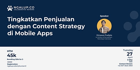 Tingkatkan Penjualan dengan Content Strategy di Mobile Apps | Paid Event tickets