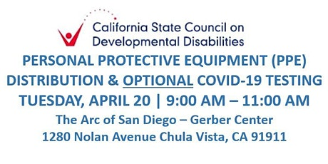 SCDD PPE  & COVID-19 Testing for Families - The Arc - Gerber Center boletos
