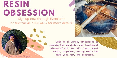 Resin Pour Class , Create your Own  RESIN Coasters!  No Experience Required tickets