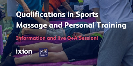 Info session: Diplomas in Sports Massage Therapy and Personal Training! tickets