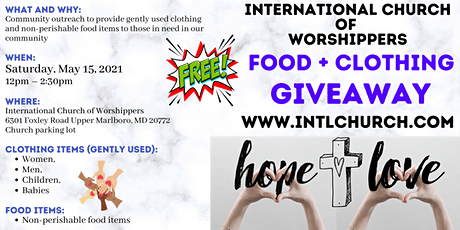 International Church of Worshippers Food and Clothing Giveaway tickets
