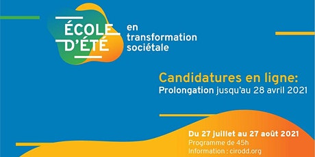Séance d'information - École d'été en transformation sociétale du CIRODD billets